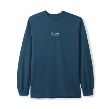 Butter Goods Micro Classic Logo Long Sleeve Tee, Harbour Blue