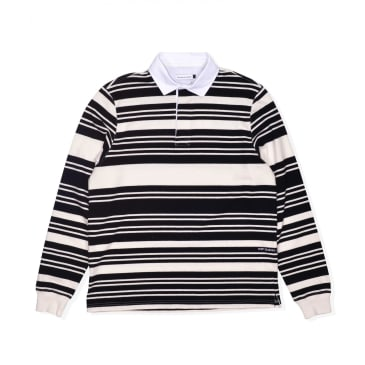 POP Trading Company Striped Rugby Shirt - Off White / Black
