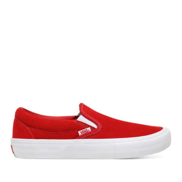 Vans Suede Slip On Pro Skate Shoes - Red / White