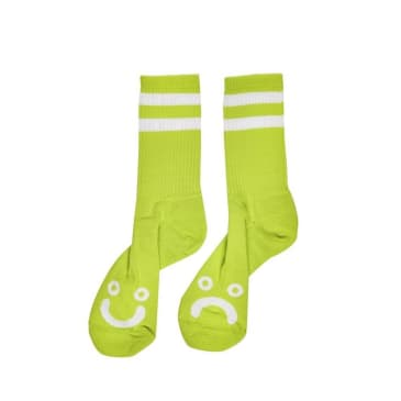 Polar Happy Sad Socks - Lime Green