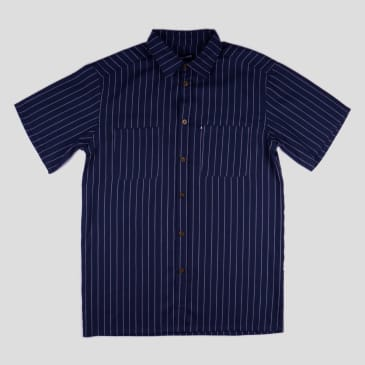 "PASS~PORT ""WORKERS STRIPE"" SHIRT S/S NAVY"