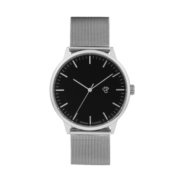 CHPO Nando Silver Watch - Black Dial/Metal Mesh Wristband