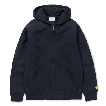 Carhartt WIP Hooded Chase Jacket - Dark Navy / Gold