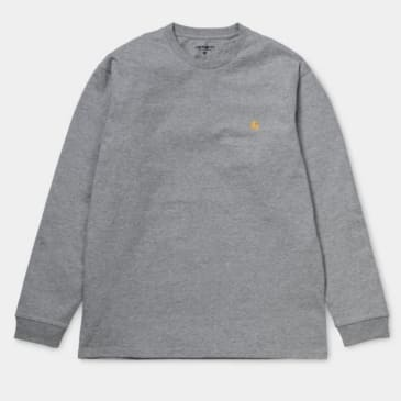 Carhartt WIP - L/S Chase T-shirt - Heather Grey/Gold
