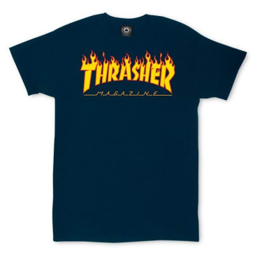 Thrasher Flame Logo T-Shirt Navy