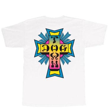 Dogtown Cross Logo T-Shirt - White / Neon Fade