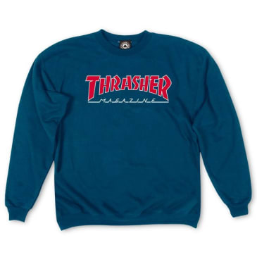 Thrasher- Outlined Logo Crewneck Navy