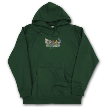 Skateboard Cafe Flower Bed Pullover Hoodie - Forest Green