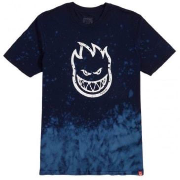 Spitfire T Shirt Bighead Outline Fill Navy/Blue Wash/White
