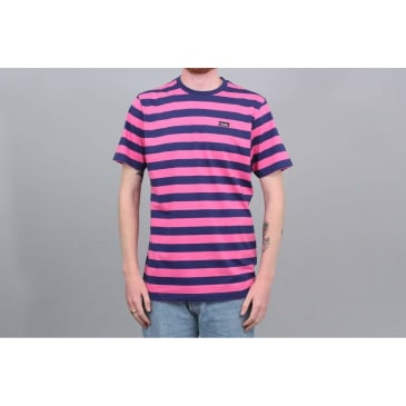 Civilist Stripe T-Shirt - Magenta / Navy
