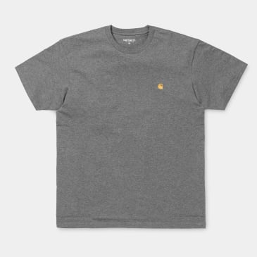 Carhartt WIP Chase T-Shirt - Dark Grey Heather / Gold