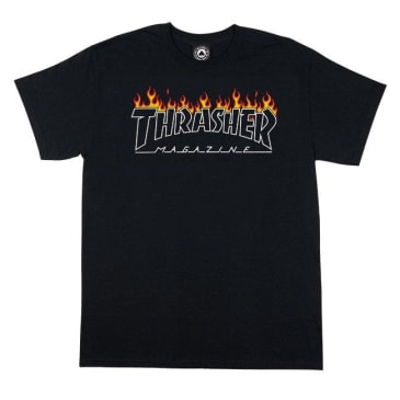 THRASHER SCORCHED OUTLINE TEE - BLACK