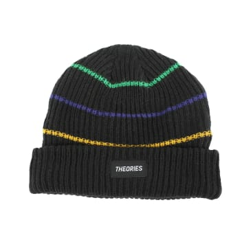 Theories Brand- Thin Stripe Beanie Black