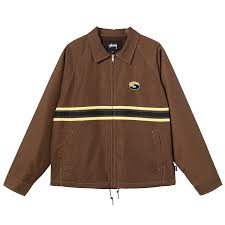 Stussy Stripe Zip Jacket Brown