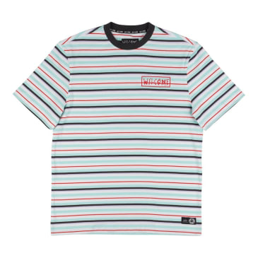 Welcome Skateboards Surf Stripe Knit T-Shirt - White / Red