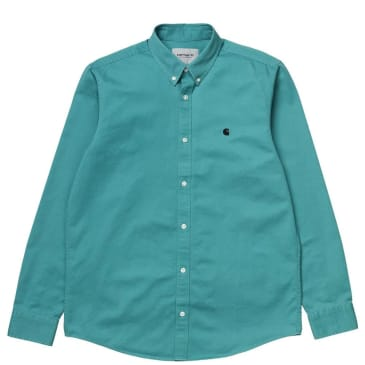 Carhartt WIP Long Sleeve Madison Shirt - Frosted Turquoise / Black