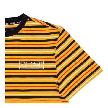 Welcome Skateboards - Surf Stripe Shortsleeve Knit (Gold/Black/Bone)