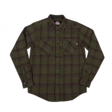 Chainsaw L/S Button Up Olive Plaid