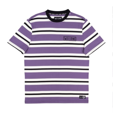 Welcome Skateboards Medius Stripe Yarn Dyed Knit T-Shirt - Purple