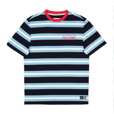 Welcome Skateboards Medius Stripe Yarn Dyed Knit T-Shirt - Black / Blue