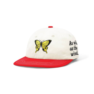Butter Goods Butterfly 6 Panel Cap - Bone / Red
