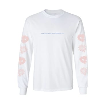 The National Skateboard Co. Flowers Long Sleeve T-Shirt - White / Pink