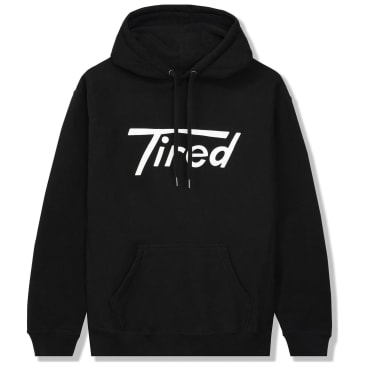 Tired Long T Logo Pullover Hoodie - Black