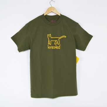 Krooked Skateboards - Big Kat T-Shirt - Military Green / Yellow