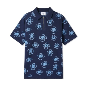 Butter Goods Flower Zip Polo - Navy / Pale Blue