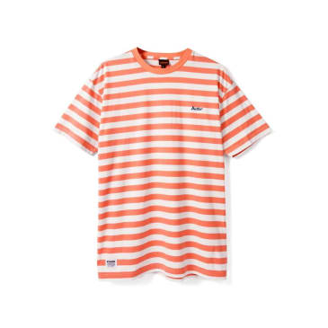 Butter Goods Cycle Stripe Tee, Peach/White