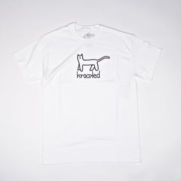 Krooked Skateboards - Big Kat T-Shirt - White / Black