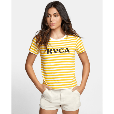 RVCA Women's Murphy Striped T-Shirt - Yellow / White