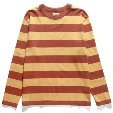 Red Ruggison Border Long Sleeve T-Shirt - Yellow / Brown