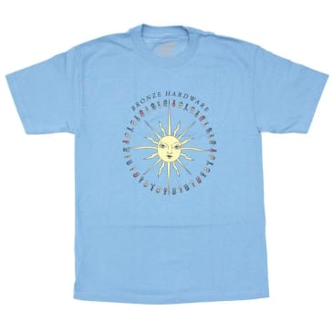 BRONZE PEACE LOVE AND HARDWARE TEE - CAROLINA BLUE
