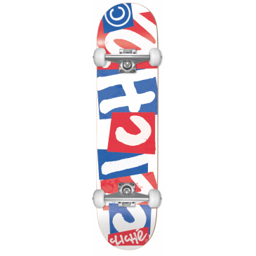 """Cliche - 7.875"""" Chopped First Push Complete Skateboard (Blue / Red)"""