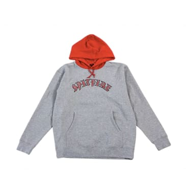 Spitfire Old E Blocked Hoodie - Grey Heather/Red