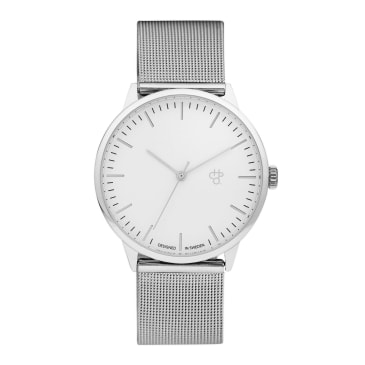 CHPO Nando Silver Watch - White/Metal Mesh Wristband