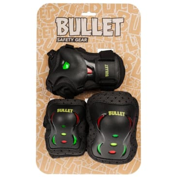 Bullet Triple Skateboard Padset - Med Junior - 7-9yrs (Black-Red-Yellow-Green)