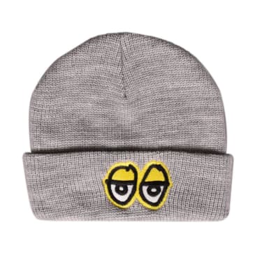 Krooked Skateboards - Eyes Cuff Beanie - Athletic Heather / Yellow