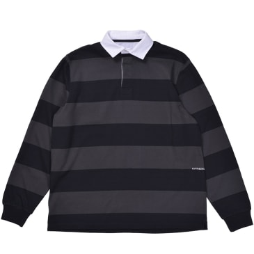 Pop Trading Company - Striped Polo - Black/Anthracite