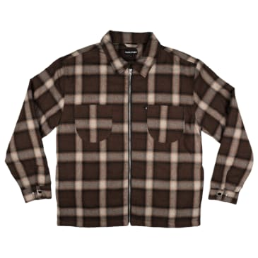 Passport Quilted Zip Up Flannel Jacket Chocolate