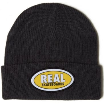 Real Oval Embroidered Cuff Beanie (Dark Grey)