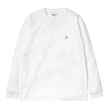 Carhartt WIP L/S Chase T-Shirt - White/Gold