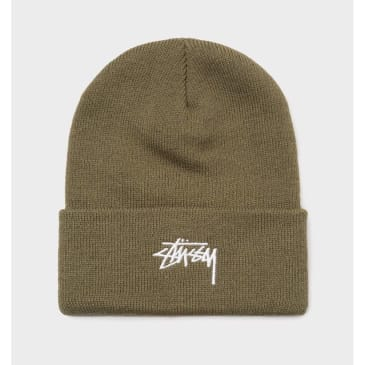 Stussy Stock Logo Embroidered Beanie Olive