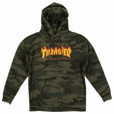 Thrasher Flame Hoodie - Forest Camo