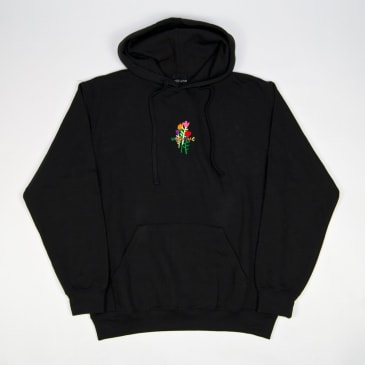 Welcome Skate Store - Rose Embroidered Pullover Hooded Sweatshirt - Black