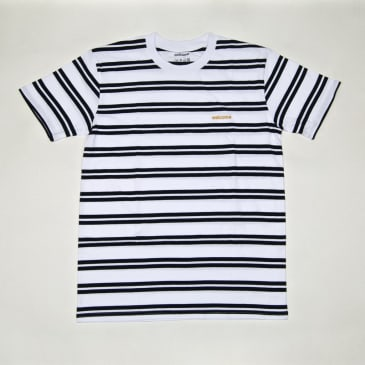 Welcome Skate Store - Striped Embroidered T-Shirt - White / Navy