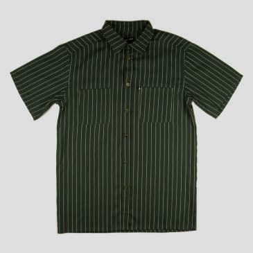"PASS~PORT ""WORKERS STRIPE"" SHIRT S/S DARK GREEN"