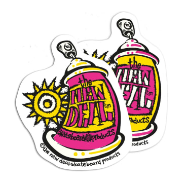 New Deal Spray Can Stickers x 2 - Pink & Yellow
