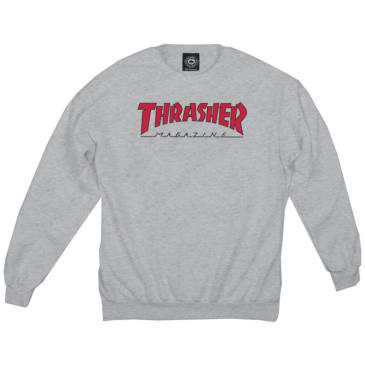 Thrasher Outlined Crewneck Jumper - Ash Grey